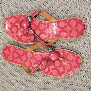 COACH pink sandals. NWOT. Never worn.